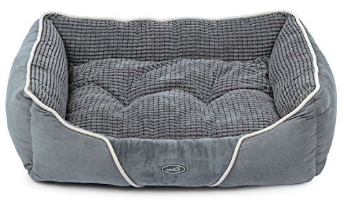 Dog Bed Cat Pet Bed Machine Washable Luxury Rectangle Bed with Soft Detachable Cushion for Small & Medium (Nuzzle Nest Dog Pet Bed)