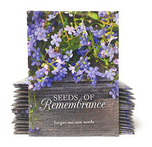 Seeds of Remembrance - Individual Forget Me Not Flower Seed Packet Favors - Rustic Wood - Ready to Give - Pack of -