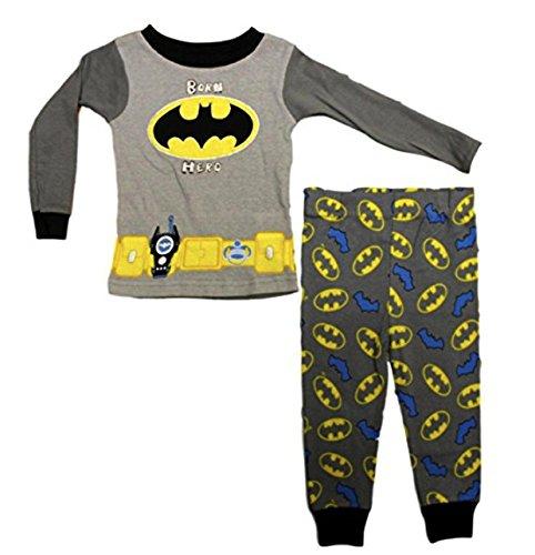 AME Baby Boys Batman Born Hero Long Sleeve Pajama Pant 2 PC Set (12M) -