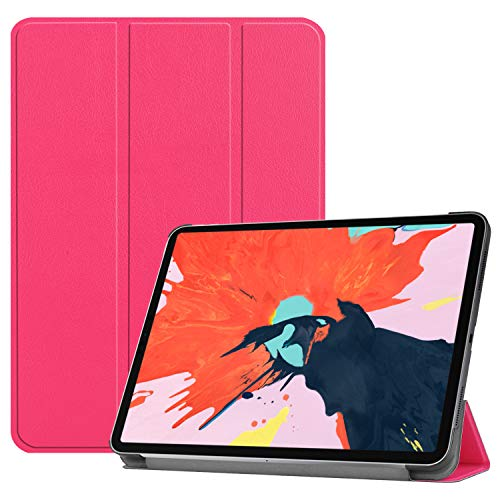 iPad Pro 12.9 2018 Case, Ratesell Lightweight Smart Pu Leather Case Cover Trifold Stand with Auto Sleep/Wake Microfiber Lining for iPad Pro 12.9 (2018) Hot Pink