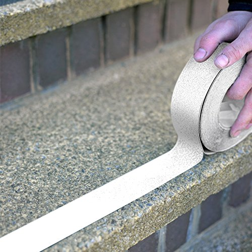 Slip Safety Tape - White or Clear Anti Slip Safety Grit Non Slip Tape - Highest Traction 60' Feet Many Sizes (White - 2
