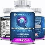 BRAIN SUPPORT PLUS – Advanced Brain Vitamins Plus Nootropics for Memory Focus and Clarity, Stress Relief. Bacopa Monnieri, Omega 3, DMAE, L-Glutamine, Tyrosine, Huperzine A … 1000 mg per day For Sale