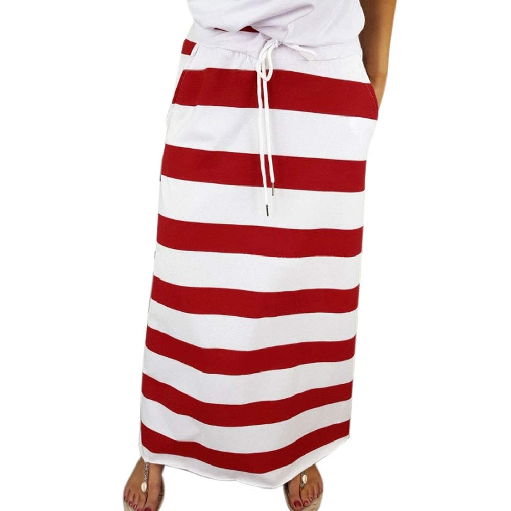 LISTHA Stripe Short Skirt Women Knee Length Casual Striped Skirts Summer Elastic by LISTHA