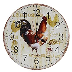 Old Oak 16-Inch Rustic Country Style Large Decorative Wall Clock Silent Non-Ticking Round for Kitchen Living Room Bathroom Bedroom Home Wall Decor with Big Rooster