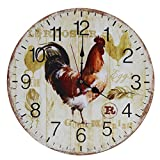 Cheap Old Oak 16-Inch Rustic Country Style Large Decorative Wall Clock Silent Non-Ticking Round for Kitchen Living Room Bathroom Bedroom Home Wall Decor with Big Rooster