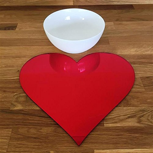 Heart Shaped Placemat Set - Red Mirror - Set of 8 by ServeWell