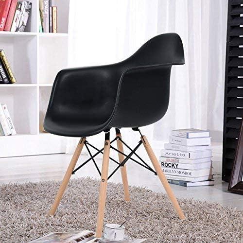 Esszimmerstuhl 4er, Schwarz Retro Stuhl Beistelltisch mit solide Buchenholz Bein