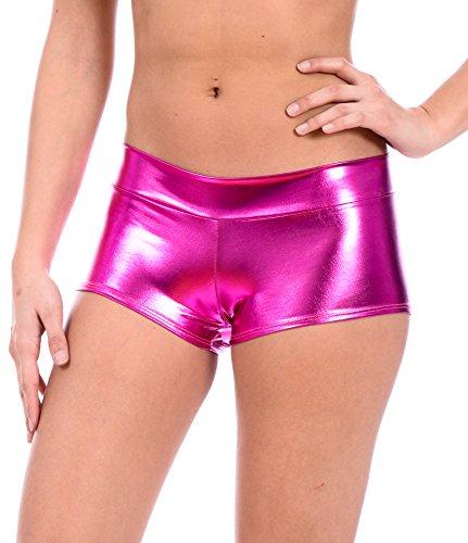(Women's Metallic Rave Booty Dance Shorts by Gary Majdell (Liquid Fuchsia, X-Large))
