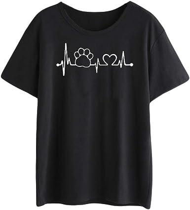 TOPKEAL Camisas Mujer Manga Corta Dibujos Animados En Forma De CorazóN El Verano Blusas Mujeres ImpresióN Tanque Tops Chaleco Camisetas: Amazon.es: Ropa y accesorios