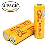 IMREN Gold IMR 21700 High Drain 3750mAh Li-ion 25A / 40A 3.7V Rechargeable Flat Top Battery, (4 Pack with Hard PC Storage Case) by M&A BD Electronics