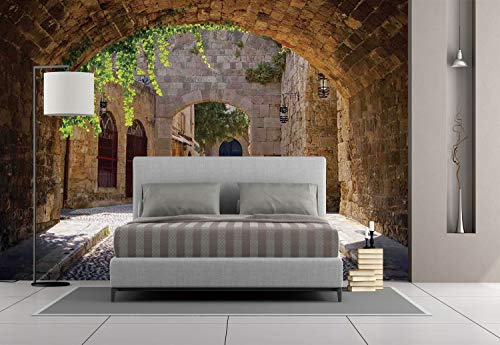 Large Wall Mural Sticker [ Tuscan,Ancient Italian Street in a Small Provincial Town of Tuscan Italy European,Brown Green Grey ] Self-adhesive Vinyl Wallpaper / Removable Modern Decorating Wall Art
