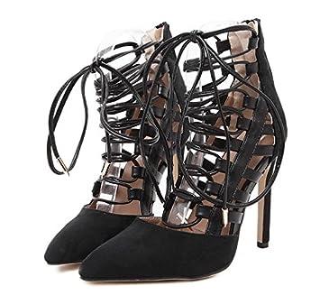 KHSKX-Im Frühling Und Sommer Schwarze 8.5Cm Schuhe Cross Schuhe Mit Einem Feinen  Hat