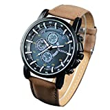 YAZOLE Mens Luminous Quartz Analog Wrist Watch, Faux Leather Band, Blue Dial Brown Band