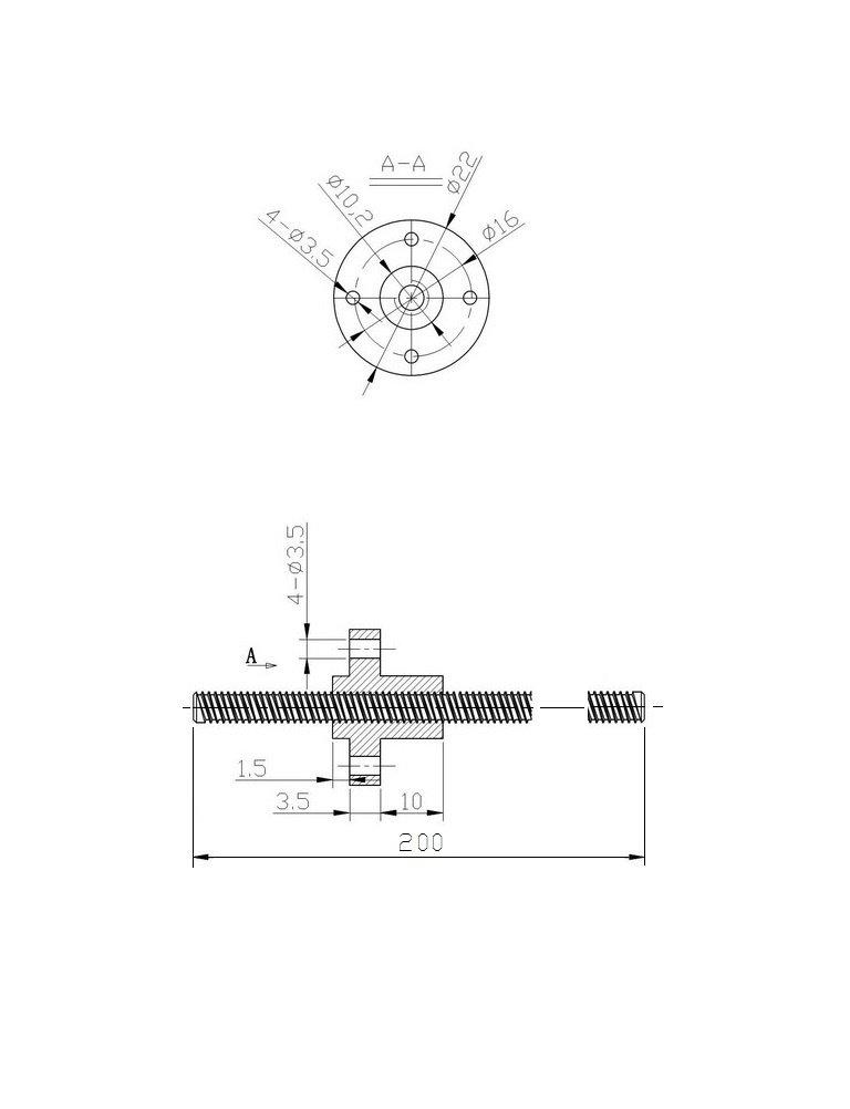 Dado di Rame Diametro 8mm per Stampante 3D Prusa i3 Asse Z 200mm ReliaBot 150mm 200mm 250mm 300mm 350mm 400mm 450mm 500mm Vite Conduttrice T8