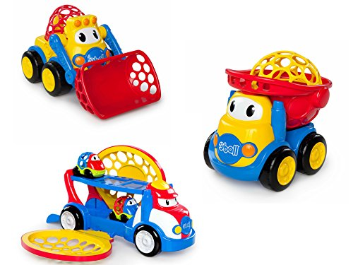 Oball Kids II Go Grippers Loader, Dump Truck, and Car Carrier Toy Cars for Kids, Bundle (Benz Center Mercedes Truck)