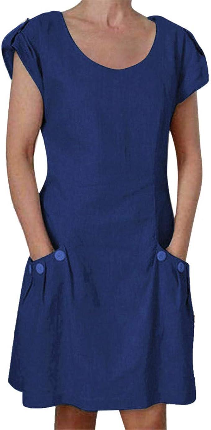 Damen Kurzarm Kleider, Sommer LäSsig Einfarbig GekräUselte Taschen Oansatz  Täglich GeknöPft Tops Strand Täglich Party Wear Sommerkleid Blusenkleid