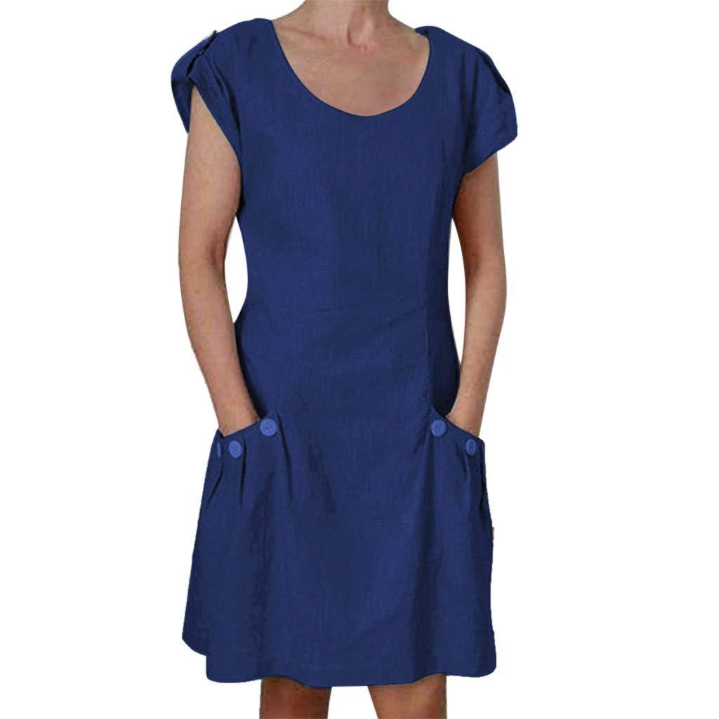 TWISFER Damen Kleid Fest Kurzarm Lose T-Shirtkleid Casual Tops Lonngshirt with Knopf Tasche