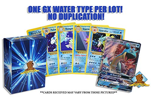 10 Random Water Pokemon Card Lot - Featuring 1 GX Water Type - A Mix of Foils - Rares - Common/Uncommons! No Duplication! Includes Golden Groundhog Storage Box!