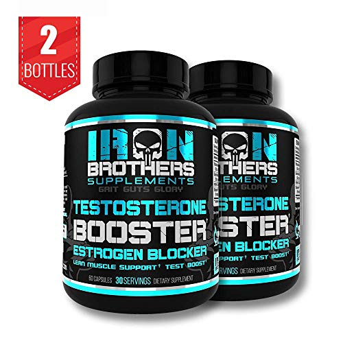 Testosterone Booster for Men with Estrogen Blocker - Anti-Estrogen Dietary Supplement - Natural Aromatase Inhibitor - Increase Libido & Strength 60 Capsules - Muscle Growth - Weight Loss (2 Bottles) (Best Testosterone Supplements For Men Over 40)