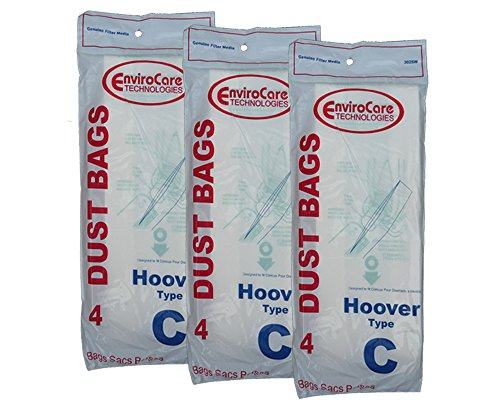 12 Hoover Type C Vacuum Bags for Convertible Upright, Bottom Fill Convertible, Lightweight, O/S Vacuum Cleaners, 43651-050, 43651050, 4010003C, 4010077C, 1340, 1350, 1351, 13560, 1370, 1372, 13290, 1391, 2552, 2552B, 2650, 2651