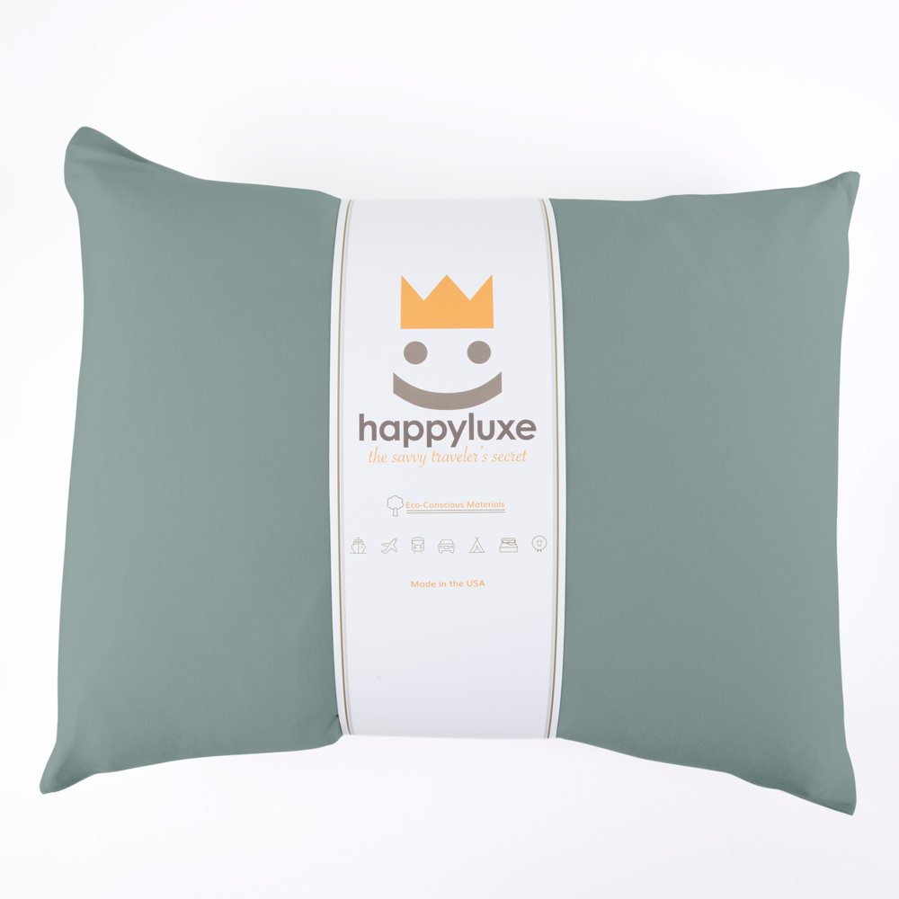 HappyLuxe Odyssey Travel Pillow, Hypoallergenic, This Small Pillow is Bigger Than Most Airline Pillows, Great Travel Accessory, relieves Neck Pain, and Machine Washable (Sage Green)