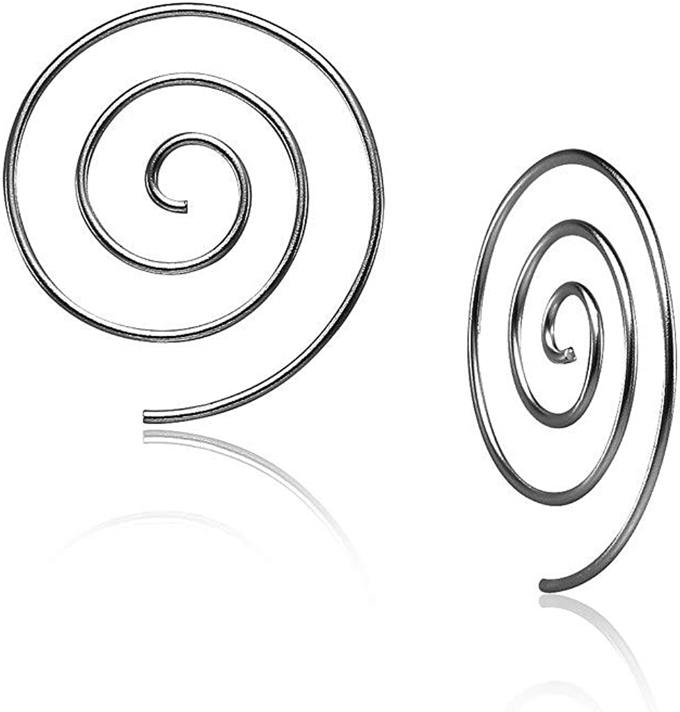 Big Apple Hoops - High Polished Sterling Silver 25mm Spiral Pull Through Threader Hoop Earrings Made from Real Solid 925 Sterling Silver in 3 Color Silver, Black, Gold Gifts for Women, Teens, Men