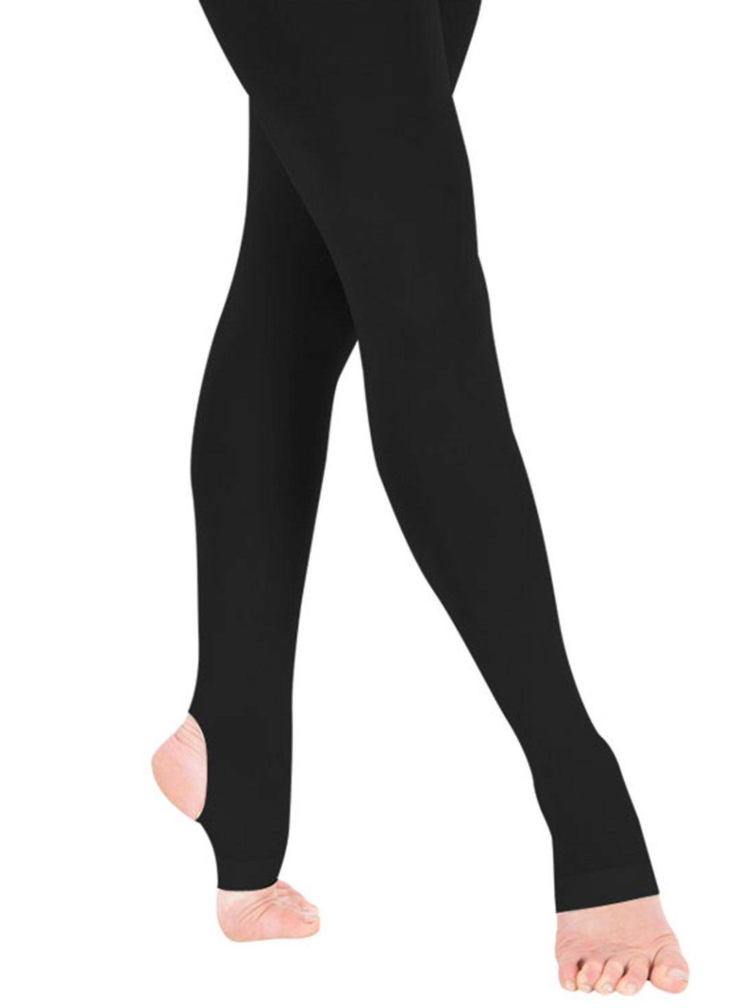 Kids Girls Transition Tight Ballet Dance Stockings Cotton Strecth Legging, Black, Medium by FEOYA