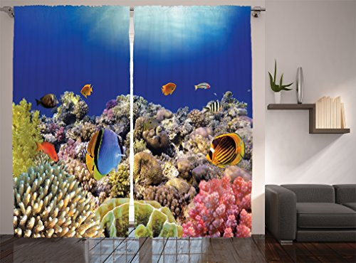 Ambesonne Ocean Decor Collection, Wild Sea Life Colorful Ancient Coral Reefs and Exotic Fishes Bali Indonesia Picture, Living Room Bedroom Curtain 2 Panels Set, 108 X 84 Inches, Navy Blue Orange Olive