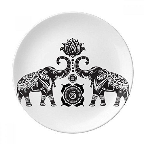 (Paint Elephant Friend Two Happy Dessert Plate Decorative Porcelain 8 inch Dinner Home )
