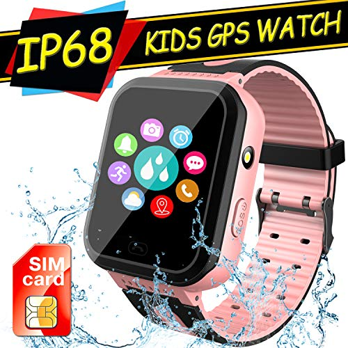 Kids Smart Watch GPS Tracker, Waterproof Boys Girls Smartwatch with SIM Card,SOS Alarm Clock Flashlight Digital Wrist Watch Phone for Kids Age 3-12 Electronic Learning Toy Birthday Xmas Gift (Pink)