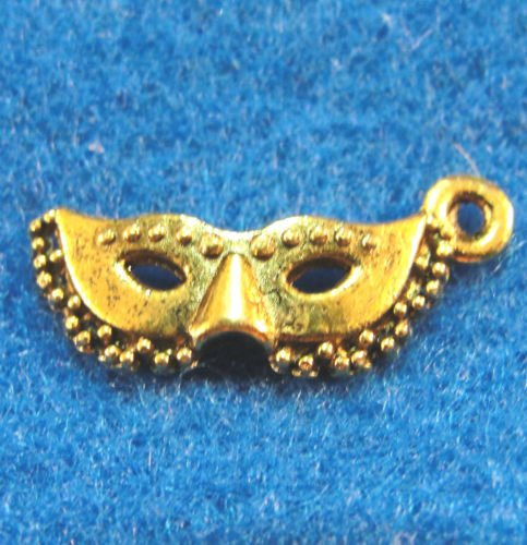 10 PC Tibetan Antique Gold HALLOWEEN Face MASK Charms - from Jewelry Making Supply Charms Wholesale by Wholesale Charms
