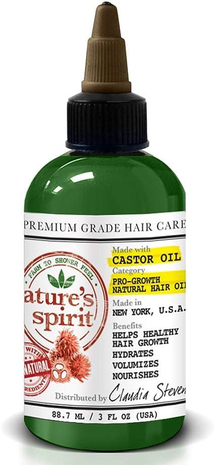 Aceite de ricino acondicionador para el crecimiento del cabello Natures Spirit, promueve el crecimiento saludable del cabello, hidrata, nutre y nutre el cuero cabelludo y el cabello, 355 ml: Amazon.es: Belleza