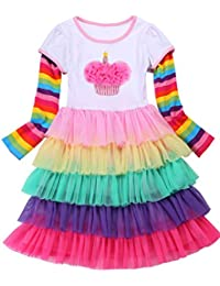 Girl's Party Birthday Princess Unicorn Rainbow Dress...