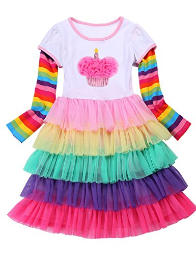 - PrinceSasa Elegant Girl's Dresses Unicorn Rainbow Party White Cupcake Long Sleeve Summer Dress for Princess Toddler Birthday Outfits Clothes,Cake,7-8 Years(Size 140)