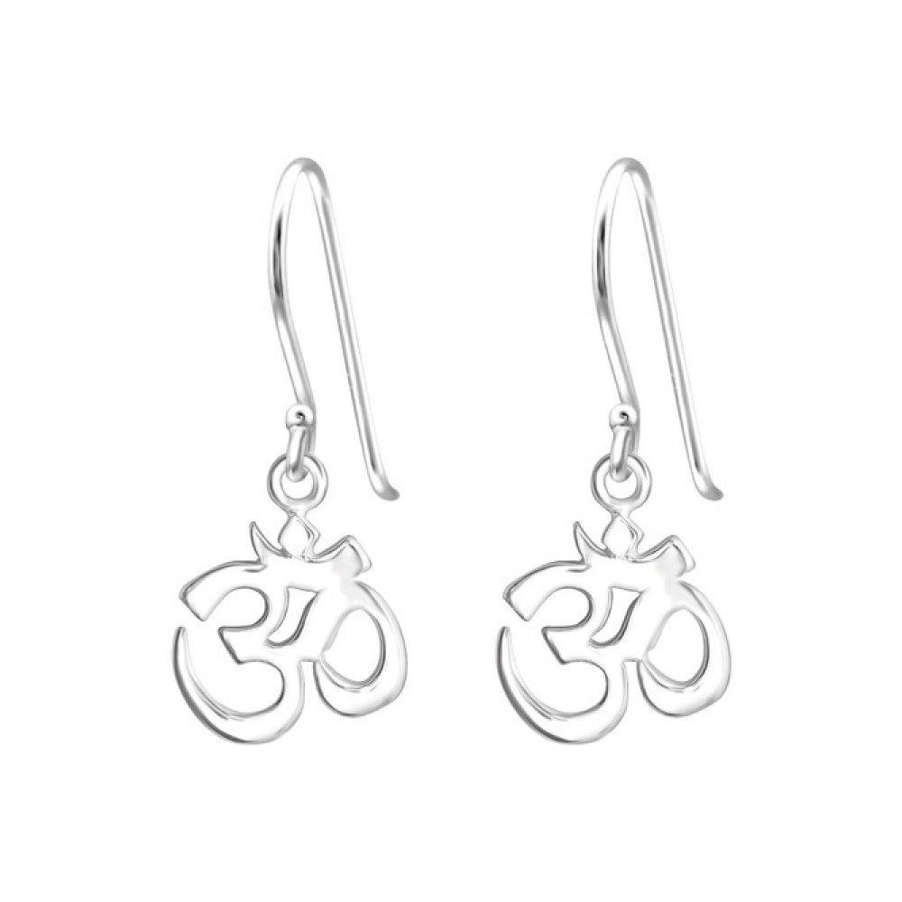 Sterling Silver Om Symbol Earrings