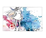 Interestlee Fleece Throw Blanket Girly Decor Sketchy Fashion Lady with Hat Looking at Watercolor Splash Brushstroke Steam Artsy Image Pink Blue