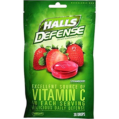 Halls Defense Vitamin C Drops Strawberry 30 Each by Halls