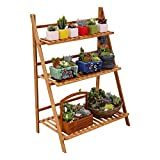 Ufine Bamboo Wood Ladder Plant Stand 3 Layer Foldable Flower Pot Display Shelf Rack for Indoor Outdoor Home Patio Lawn Garden Balcony Holder (Multi-Functional, Planter Pocket Bag Sent)