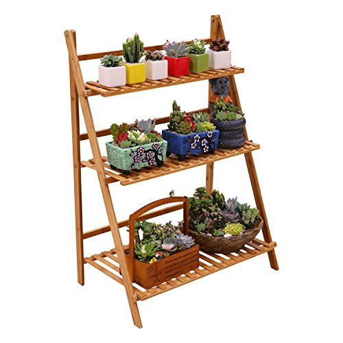 Ufine Bamboo Wood Ladder Plant Stand 3 Layer Foldable Flower Pot Display Shelf Rack for Indoor Outdoor Home Patio Lawn Garden Balcony Holder (Multi-Functional, Planter Pocket Bag Sent) by Ufine