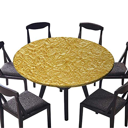 (Round Premium Tablecloth Gold foil Seamless Background Texture Stain Resistant 35.5