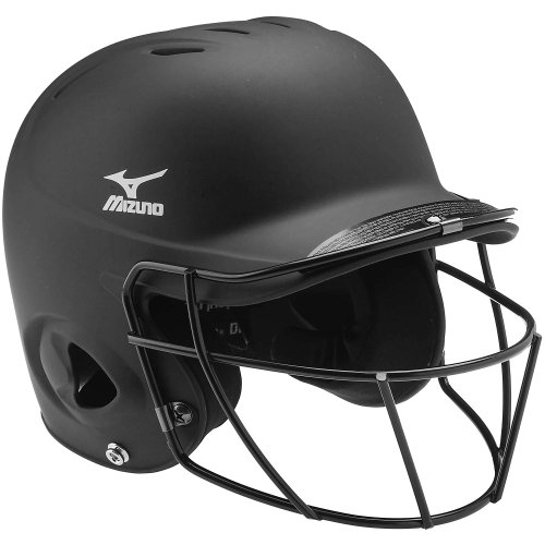(Mizuno MBH600 6-6 3/4-Inch Prospect Batter's Helmet with Fast Pitch Mask (Black))