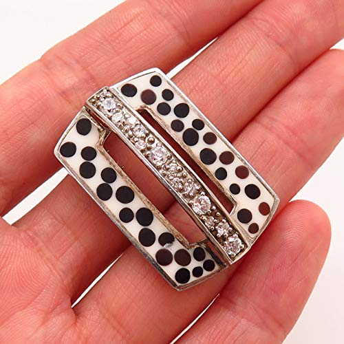 925 Sterling Silver Enamel & C Z Rectangle Dots Design Slide Pendant Jewelry Making Supply by Wholesale Charms