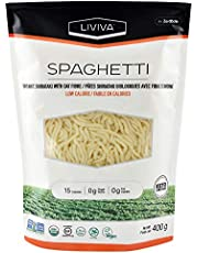 LIVIVA Organic Shirataki Spaghetti with Oat Fibre, Low-Calorie Pasta made from Konjac Root, Non-GMO, Gluten Free and Keto Certified, 400g