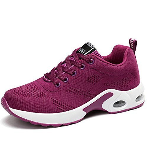 Shoes Absorbing Lightweight Gym Shoes Running up Jogging Running Air Ladies Trainer Shock Lace Purple Sports Fitness Trainers Women's 4Pqa0a