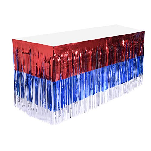 Amosfun Tablecovers for Parties, 4th of July Table Skirt Foil Fringe Table Skirt Patriotic Party Table Skirts Blue Red Table Skirt with Rain Curtain for Wedding Hawaiian Party