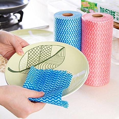 Generic 50 pcs: 1 rollo cocina desechables Toallas de telas no tejidas paño de limpieza