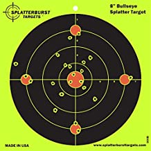 Splatterburst Target - 8 inch Bullseye Reactive Shooting Target - Shots Burst Bright Fluorescent Yellow Upon Impact - Gun - Rifle - Pistol - AirSoft - BB Gun - Pellet Gun - Air Rifle (100 pack)