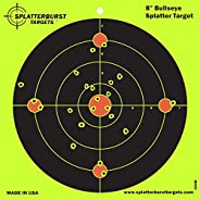 Splatterburst Target - 8 inch Bullseye Reactive Shooting Target - Shots Burst Bright Fluorescent Yellow Upon I