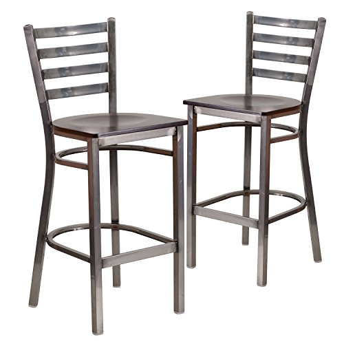 (Flash Furniture 2 Pk. HERCULES Series Clear Coated Ladder Back Metal Restaurant Barstool - Walnut Wood Seat)