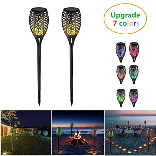 JINGOU LED Solar Flames Torches Lights Waterproof Solar Lights Outdoor for Garden Patio Pathway Auto On/Off (2 Pack)